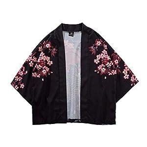 Uqiangy Unisex Japanese Kimono Cherry Blossom Printed Cardigan Jacket Open Front Coat