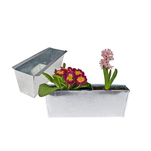 BigDean Pflanzkasten Blumenkasten Balkonkasten Europalette Blumenkübel verzinkt glänzend Pflanzkübel LxBxH ca. 35,5 x 12 x 12,5 cm Palette Palettenmöbel Balkon Pflanztrog