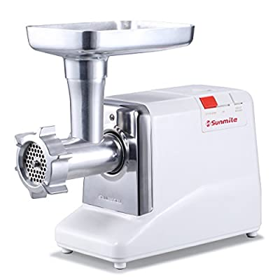 Sunmile SM-G50 ETL Electric Meat Grinder - Max 1.3 HP 1000W Heavy Duty Meat Mincer Sausage Grinder - Metal Gears, Reverse, Circuit Breaker, Stainless Steel Cutting Blade and Plates, 3 Sausage Stuffs