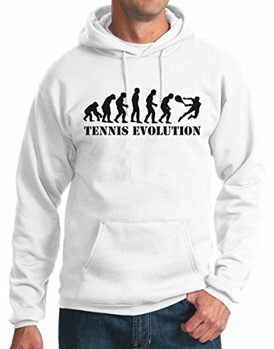 t-shirteria Felpa con Cappuccio Tennis Evolution - Sport - Tennis - Humor - Idea Regalo