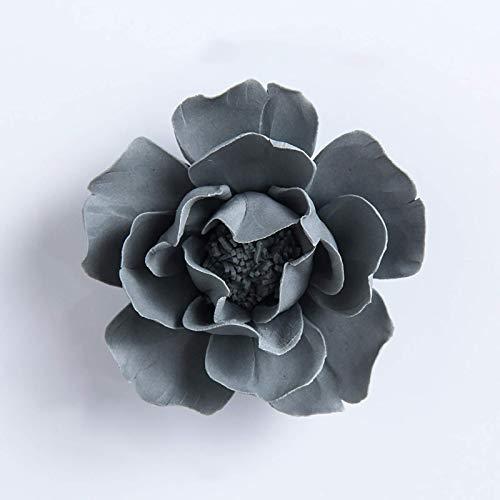 weiwei Escultura de Pared Flor de cerámica 3D para Colgar en la Pared,Sala de Estar del hogar,Dormitorio,Pasillo,Fondo,decoración artística de Pared(Cinco tamaños)