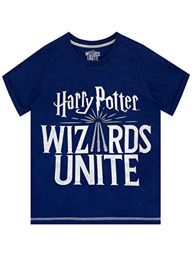 Niños Harry Potter camiseta;. CUIDADO CON muggles! Este fresco Harry Potter: Wizards Unite camiseta es perfecto para cualquier fan de este juego impresionante ofreciendo la insignia juego'S en brillante hoja de plata este azul Marl camiseta es detall...