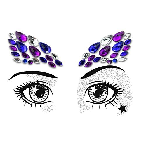 PARTY EYES Face Gem Festival Make up Face Jewel headpiece Body Jewel- ALL IN ONE-STICK ON BINDI TATTOO FOREHEAD JEWELLERY (blue EFBLU)