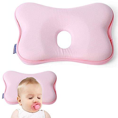 Orthopädisches Babykissen Gegen Plattkopf,Babykopfkissen Gegen Plattkopf,Baby Kissen Kopfverformung Plattkopf,Plattkopf Babykissen,Memory-Schaum-Kissen für Baby (Rosa)