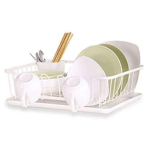 HYY-YY Keuken plank afdruiprek Rack Keuken smeedijzer Paint Single Layer grote capaciteit Bestek Storage Basket Met Bekerhouders White 43,5 * 31 * 12.5cm