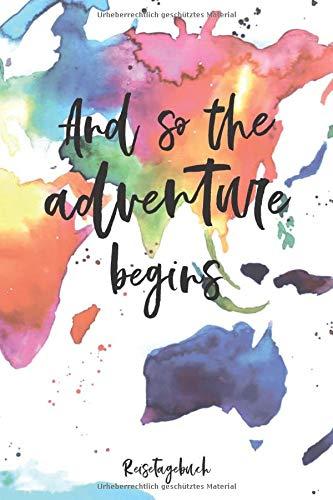 Reisetagebuch: Für alle Länder | blanko, ca. DIN A 5, 108 Seiten, Softcover | Tolles Abschiedsgeschenk für die Weltreise, Auslandsjahr, ... zum selber schreiben | Mit Aquarell Weltkarte