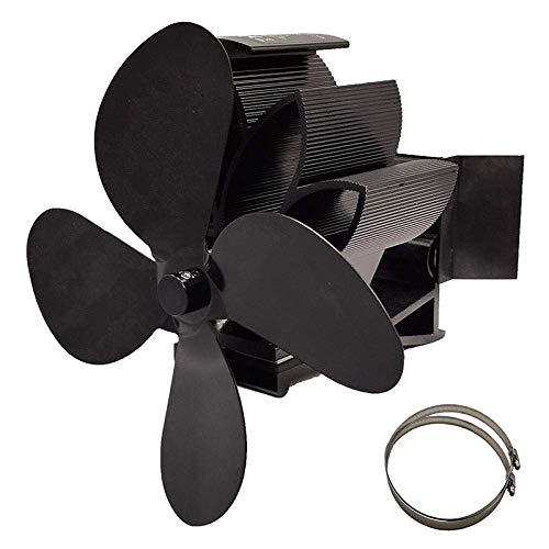 WYJW Ventilador de Estufa de 4 aspas con Montaje en tubería automático Quemador de leña de Registro Ecofan Ventilador de Chimenea para el hogar silencioso Distribución eficiente del Cal