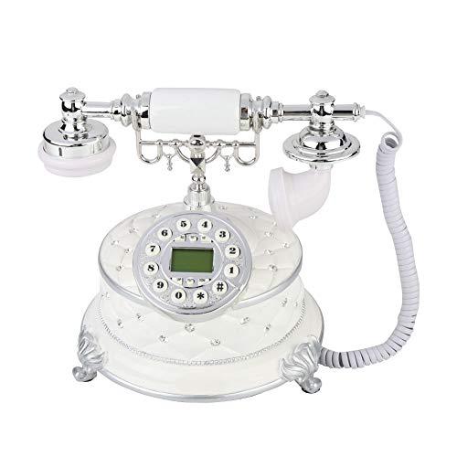 Hakeeta Weiß Antik Festnetztelefon Retro Vintage Telefon mit Rotierender Wählscheibe und LCD-Display unterstützt Anrufer-ID-Anzeige, FSK/DTMF-System usw.
