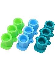 Liseng Juego de 3 moldes de silicona para macetas, diseño de octogonal, para hormigón, cemento, yeso, moldes de silicona para manualidades pequeñas o plantas