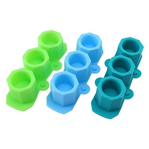 Liseng Juego de 3 moldes de silicona para macetas, diseño de octogonal, para hormigón, cemento,...