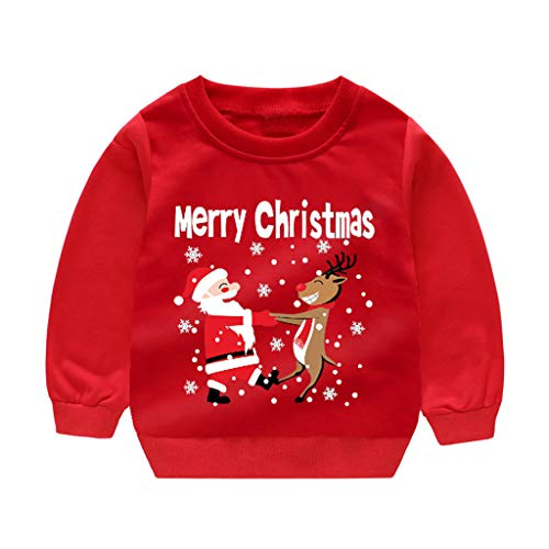 Zerototens Boys Santa Claus Cartoon Printing Sweatshirts Long Sleeve T Shirt Threaded Cuffs Crew-Neck Pullover Toddler Kids Christmas Clothes Casual Cotton Tops Age 1-6 Years (Red, 5-6 Years)
