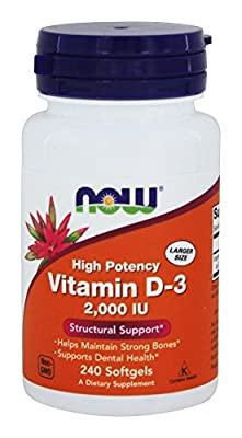 Vitamin D-3, 2,000 IU, 240 Softgels - Now Foods - UK Seller