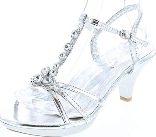 Delicacy Angel-62 Womens Strappy Rhinestone Dress Sandal Low Heel Shoes,Silver_T Strap,7.5