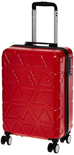 AmazonBasics Pyramid Hardside Carry-On Luggage Spinner Suitcase with TSA Lock - 22 Inch, Red