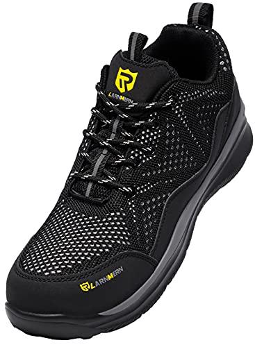 LARNMERN PLUS Zapatos de Seguridad Hombre Ligeros, Zapatillas de Seguridad Hombre Trabajo Comodos Punta Acero Calzado Seguridad Deportivo Antideslizante Antiperforación Verano(Negro,42.5EU)
