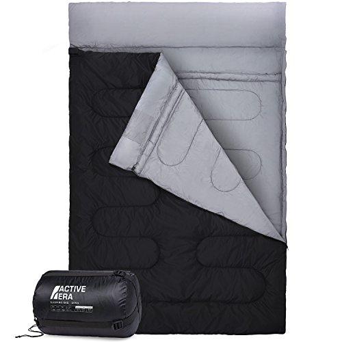Active Era Saco de Dormir Doble. Se Convierte en 2 Sacos Individuales. Extragrande 220 x 150 cm. para Todas Las Estaciones, para Camping, Excursiones y Actividades al Aire Libre