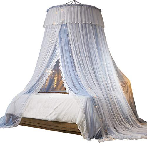 Bverionant Bett Betthimmel Moskitoschutz Moskitonetz Dekoration Bettvorhänge Insektenschutz Baldachin für Doppelbett Einzelbett Grau + Weiß Eine Grösse