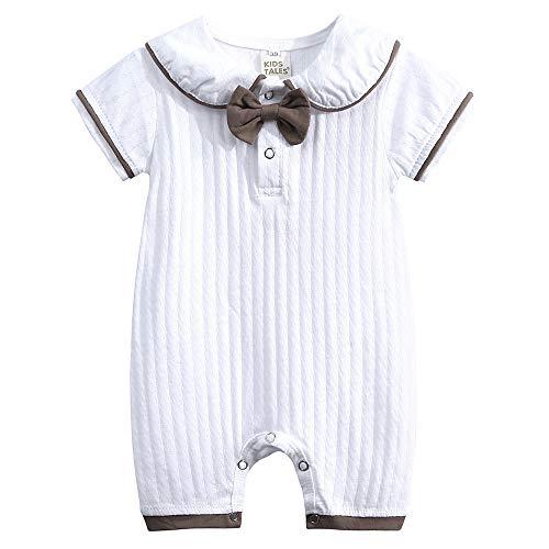 Unisex Baby Strampler Jungen Mädchen Schlafanzug Baumwolle Streifen Kurze Ärmel Overalls Säugling Spielanzug Bodys Kleidung 0-24 Monate
