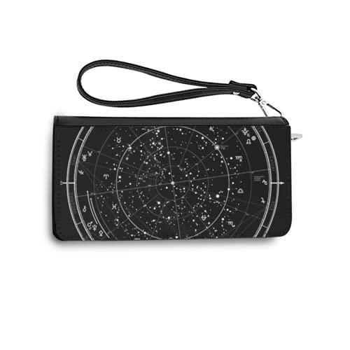 Carteras de Mujer Monedero Largo de Cuero Astrological Celestial Map of Northern Hemisphere Horoscope on January 1 2017 00 00 GMT Detailed chaPU de Moda Cartera con Tarjetero para Mujer Organizar One