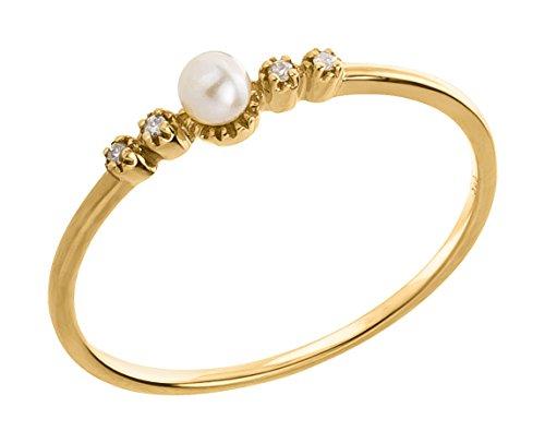 Ardeo Aurum Damenring aus 375 Gold Gelbgold mit 0,02 ct Diamant Brillant 3,5 mm Perle Süßwasserperle Vorsteckring Stapelring