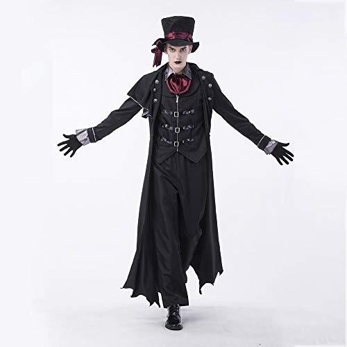 roroz Halloween Kostüm Männer, GRAF, Vampir Kostüm, Teufel Verkleiden Sich, Zombie Anzug Maskerade KostüM Cosplay KostüMe, Karneval, Nacht-Party, Erwachsene, Männer und Frauen,Black-XL