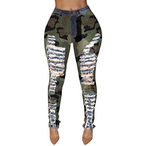 ❤YUYOUG 2020 Jeans Pantalon De Camouflage Pour Femme Pantalon à Bouton Imprimé Pantalon à Poche Zippée Pantalon Moulant En Denim Décontracté
