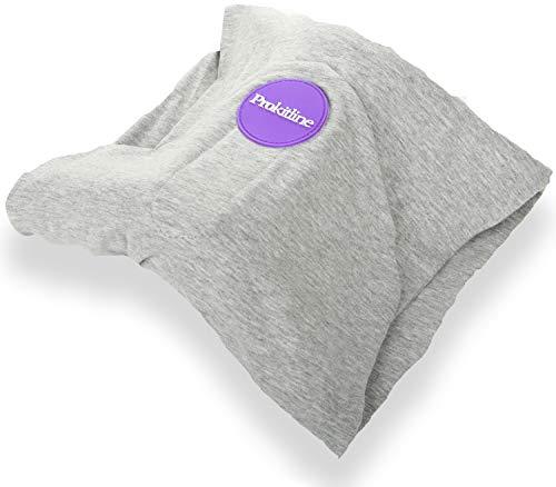 Almohada para Cuello de Viaje 100% Algodón con Soporte de Espuma de Memoria , Máscara para Dormir 3D, Tapones de Oídos – Almohadas para Avión – Funda de Almohada de Vuelo para Dormir Accesorios de Viaje – Esenciales de Viaje Gris