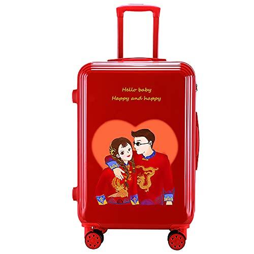 SGCDKSP Caja de contraseñas de Rueda Universal Maleta de Maleta de Hombre y Mujer Trolley Maleta Retro,Red 13,24 Inches