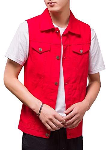 Kedera Men's Sleeveless Denim Vest Button-Down Trucker Jean Jacket Red