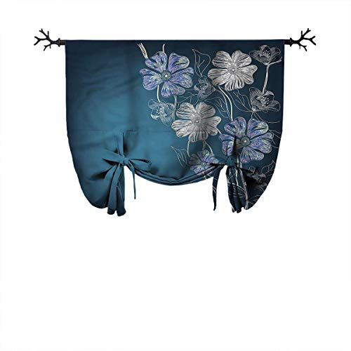 Mozenou Living Room Roman Curtain-Art,Cherry Blossom Bridal Theme,Ideal for Living Rooms and bedrooms,W32 xL55 One Panel