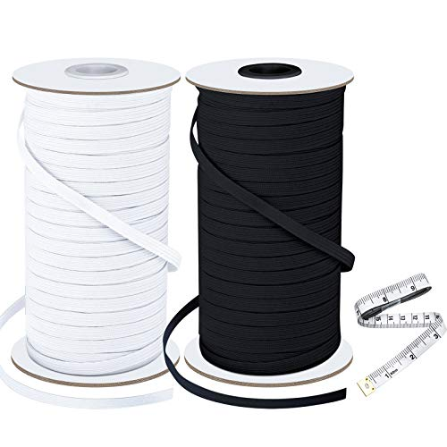 2 Rolls Braided Elastic Band 100 Yards Length 1/4 Inch Width Heavy Stretch Cord Elastic Rope Knit Elasticity Bungee Spool for Sewing Crafts DIY Mask Bedspread Cuff (1 White,1 Black and 1 Tape Measure