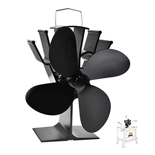 BUYGOO Ventilator für Kamin Holzöfen Öfen mit 4 Flügel - Wärmebetriebene Ventilator, Stromloser KaminVentilator mit Ofenthermometer, Starker Kleiner Ofenventilator für Feuerstelle Kaminöfen