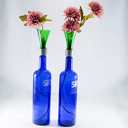 Recycled Sky Vodka Cobalt Blue Bottle Flower Vase