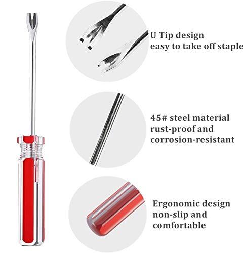 VERCCA 3Pcs Tack Lifter 3 mm U Tip Nail Staple Rivet Tack Puller Upholstery Staple Remover Screwdriver Tool