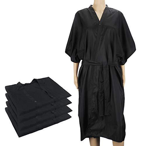 4pcs batas negras de kimono, vestido de masaje Segbeauty Spa, uniforme para el cliente para mujeres Salón de belleza, satén, impermeable, suave paño, abrigo para maquillaje de champú