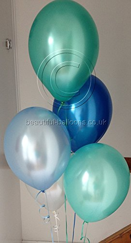 30 Under The Sea Range Pearlised, Helium Quality, Latex Balloons with Curling Ribbon by Beautiful Balloons