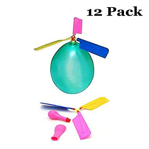 HoFire 12 Pcs Kids Balloon Helicopter Airplane 24 Pcs Balloon Powered Helicopter Flying Toy for Children's Day Gift Party Favor Easter Basket, Stocking Stuffer or Birthday