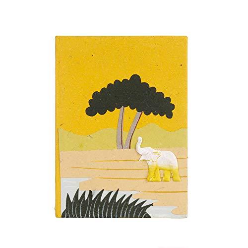 Cuaderno de estiércol de elefante, amarillo, 60 páginas de papel reciclado, sin forro, 15 cm x 21 cm, auténtica caca de elefante, comercio justo y hecho a mano, alternativa de diario para hombres y mujeres