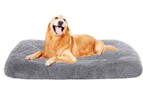 Xpnit Alfombrilla de colchón con funda con cremallera, suave y lavable, cojín para cama para mascotas para perros pequeños, medianos y grandes (XL-110 x 80 x 10 cm, gris)