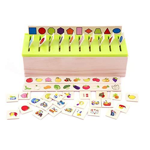 Justdodo Boîte de Classification des Connaissances Montessori Enfants Jouets en Bois Jouets éducatifs Correspondants Correspondant à la catégorie