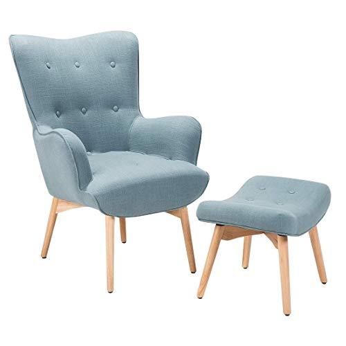 Beliani Eleganter und weich gepolsterter Sessel mit praktischem Hocker in Hellblau Vejle
