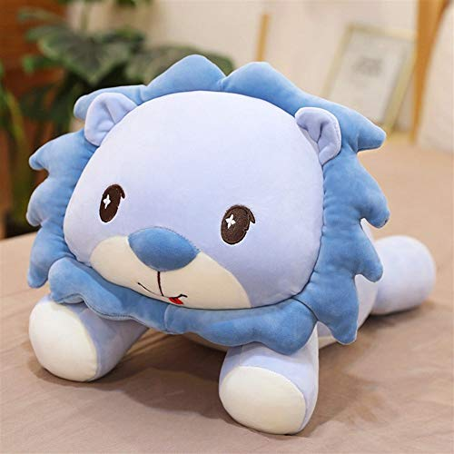 Giant Sun Lion Plush Toy, Cute Baby Pillow Lying Lions Cushions Doll Soft Big Cushions Cuddle Comforter Toy Huggable Stuffed Gift Toys For Boys And Girls Toddler 297 ( Color : Blue , Size : 70cm )