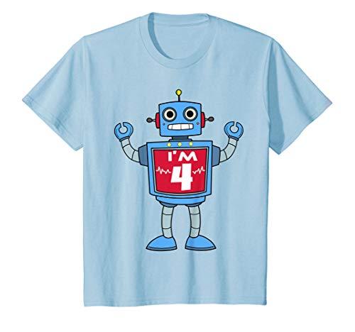 Kinder Kinder Jungen 4. Geburtstag Robot T Shirt, 4Jahr Old Roboter Party Geschenk