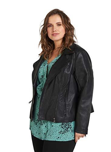 Zizzi Damen Große Größen Jacke aus Lederimitat mit Reissverschluss Gr 42-56