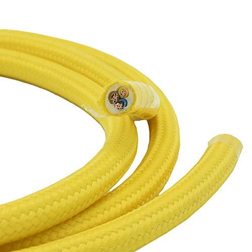 3 Meter Textilkabel Gelb 3-adrig 0,75qmm Stoffkabel für Pendel- und Hängeleuchten Stromkabel mit Stoff Lampenkabel