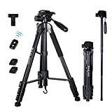BAALAND Phone Camera Tripod, 70'' Tripod Stand for Nikon Canon DSLR Video Camera with Remote Shutter and Universal Phone Holder for Selfie Stick Tripod