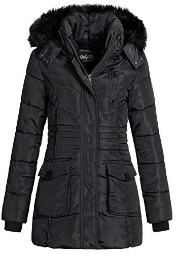 Geographical Norway Damen Jacke Winterjacke Parka Bouvar Steppjacke mit Fellkapuze Black L