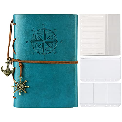 Notizbuch aus Leder, MALEDEN Classic Spiral Bound Notebook Nachfüllbares Tagebuch Reisetagebuch Geschenke mit linierten Seiten und Binder-Taschen zum Schreiben für Mädchen und Jungen