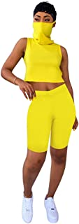 OLUOLIN Womens Short 2 Piece Outfit - Casual Vest Top Workout Tracksuit Bodycon Pants Set Jumpsuit Rompers