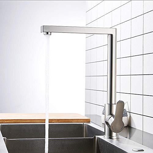 Waterkraan gepolijst keukengootsteen kraan keukenmengkraan keukenkraan roestvrij staal stil sluiten, eenvoudig te installeren